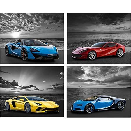 Amazon Com Car Poster Lamborghini Mclaren Ferrari Bugatti Sports Posters Car Wall Art Supercar Decor For Boys Room Bedroom Set Of 4 Unframed 8x10 In Black And White Highway Supercars Pictures Posters