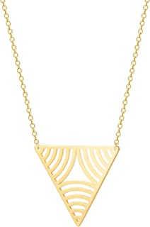 18K Gold Chain with Cultured Pearl Pendant Bar Karma Circle Disk Full Moon Necklace Geometric Triangle Hexagon Long Sweater Minimalist Layering Jewelry for Women Girls
