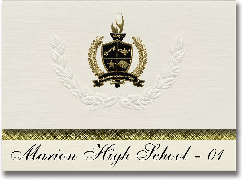 Signature Announcements Marion High High High School - 01 (Marion, SD) Schulabschluss, Präsidential-Stil, Grundpaket mit 25 Goldfarbenen und schwarzen metallischen Folienversiegelungen B0794SN9GM | Starker Wert  9f03c4