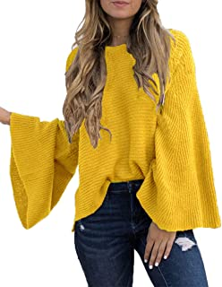 HZSONNE Women's Casual Kimono Bell Sleeve Patchwork Stripe Loose Fit V Neck Pullover Sweater Knitted Tops Blouse Cardigan