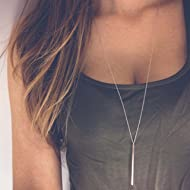Yfe Bar Pendent Necklace Long Vertical Necklaces Jewelry for Women and Girls Minimal Necklace...