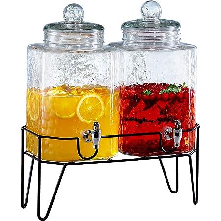 Outdoor Glass Beverage Dispenser With Sturdy Metal Base Stainless Steel Spigot Hanging Chalkboard Drink Dispenser For Lemonade Tea Cold Water More Iced Beverage Dispensers