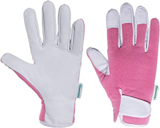 Leather Gardening Gloves for Women - Pink Slim-fit Work Gloves - Ideal for Garden and Yard Work, Safe for Pruning Roses. (Pink, Womens Medium)