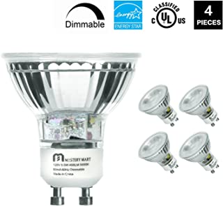 LED GU10 Spotlight Light Bulbs, 50 Watt Equivalent, 5.5W Dimmable, MR16 Full Glass Cover, 5000K Daylight, 25000 Hours, UL Listed, Energy Star Certified, by Mastery Mart (Pack of 4)