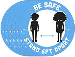 """BeSafe Messaging""""Be Safe, Stand 6 Ft Apart"""", 6 Pack, 12"""" Round, Repositionable Vinyl UL 410 Certified Anti-Slip Floor Sign..."""