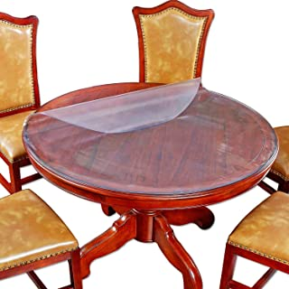 Round Table Top Protector Dining Coffee Tabletop Cover Circle Furniture Protective Plastic Tablecloth Protective Office De...