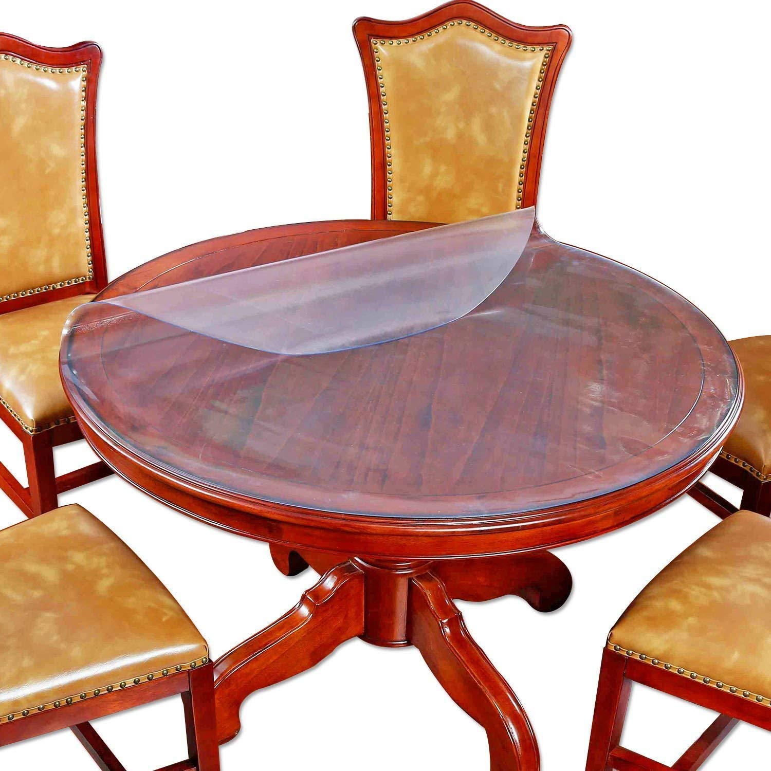 Large Frosted Round Dining Table Protector Furniture Tabletop Protective  Cover Plastic Tablecloth Round Glass Tabletop Wipeable Water Resistant  Chair ...