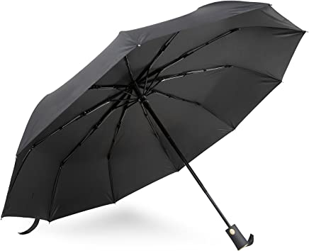 Megadream Automatic Folding Umbrella, Windproof Resist UV rays 210T Finest Reinforced Compact Fast Drying 10 Ribs Frame Auto Open Close for Easy Carry Travel Umbrella for Women and Men (Black)