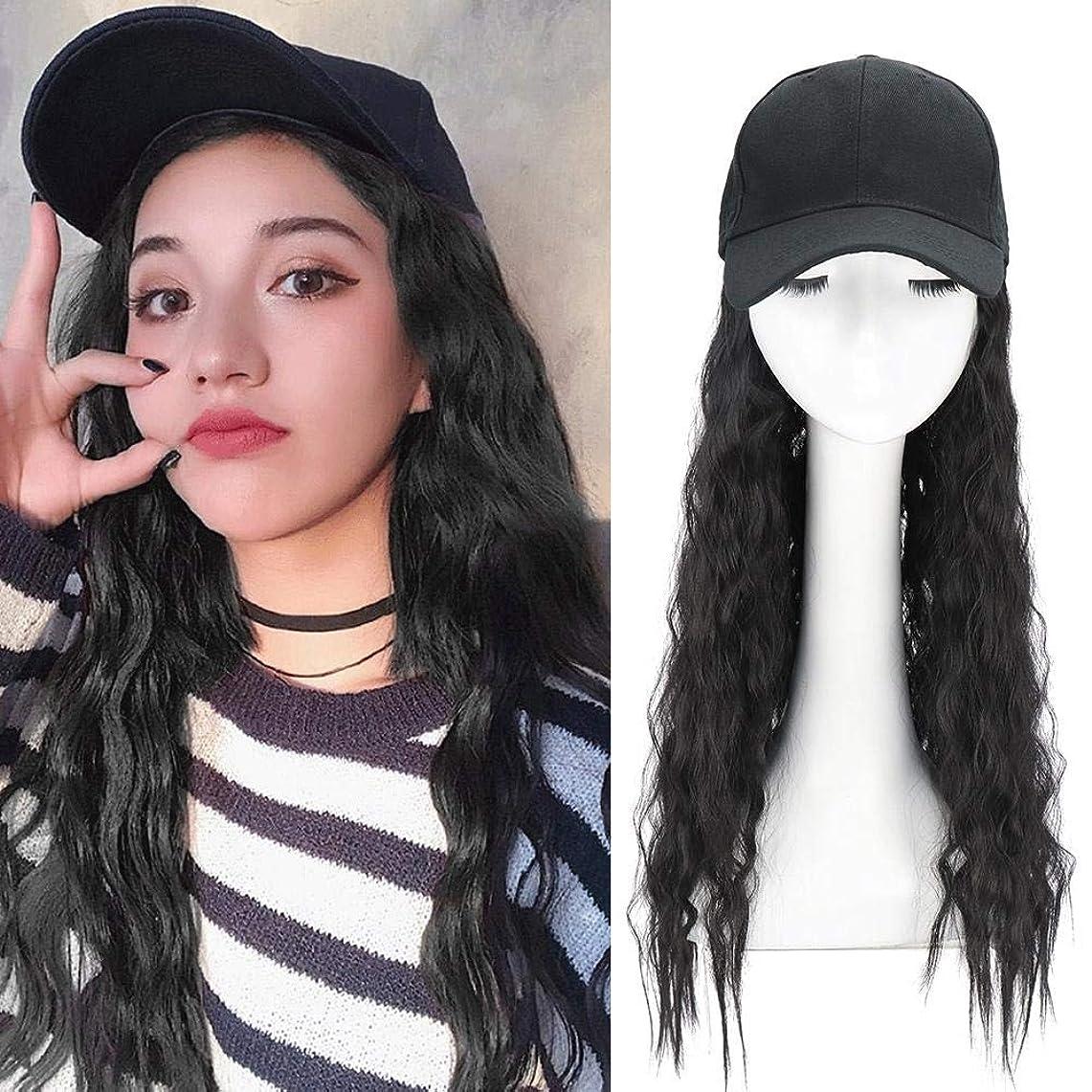 臨検神経障害職業長い巻き毛を持つ合成長波野球帽合成毛を持つ波状かつらキャップ女の子のための髪を持つ調整可能な野球帽帽子