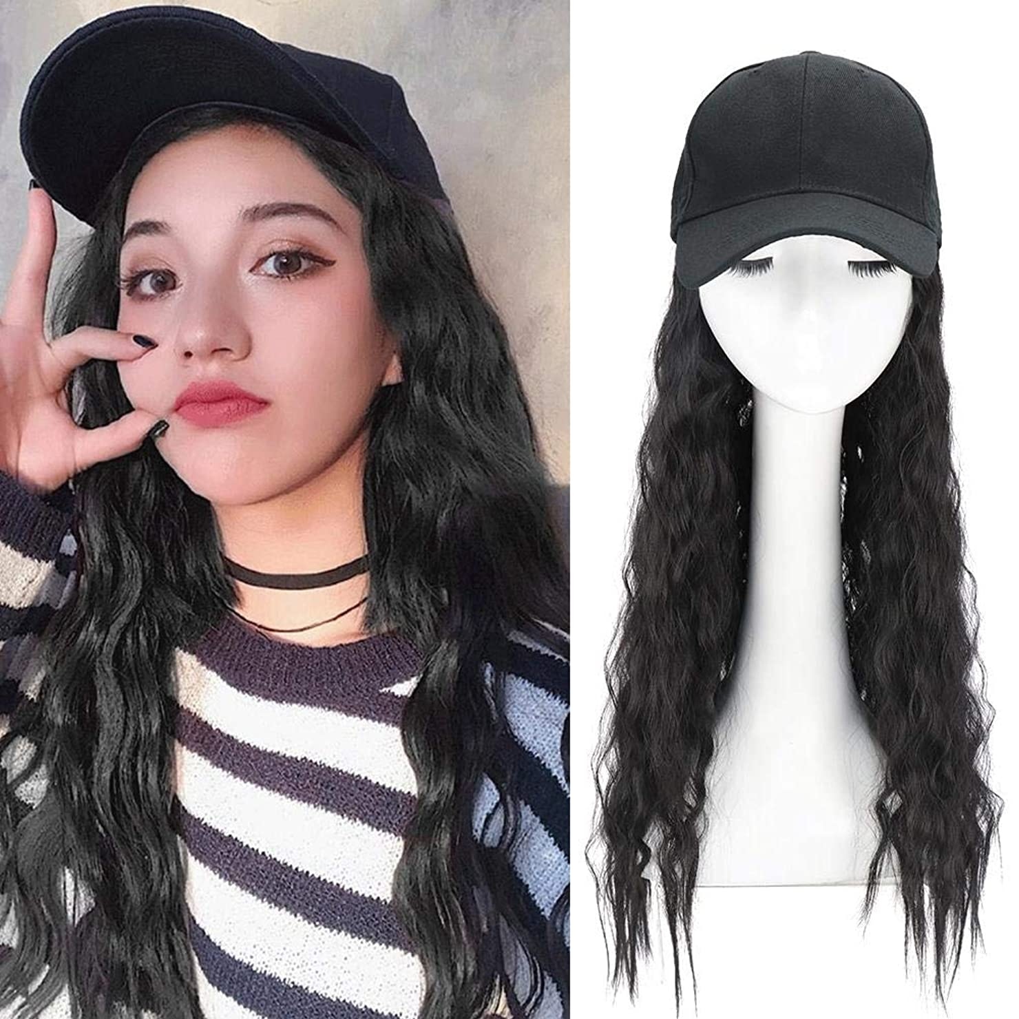 ペレグリネーション残り気づかない長い巻き毛を持つ合成長波野球帽合成毛を持つ波状かつらキャップ女の子のための髪を持つ調整可能な野球帽帽子