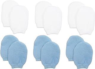 Newborn Baby Boy No Scratch Cotton Mittens (Includes 3 Pairs White & 3 Pairs Blue Mittens)
