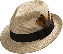 Ultrafino Fedora Sedona Straw Panama Hat Trilby with Feather