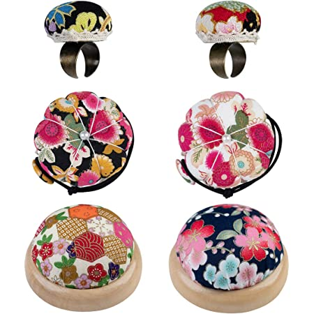 JUSTDOLIFE Ring Pin Cushion Adjustable Floral Pattern Finger Pincushion Sewing Accessory