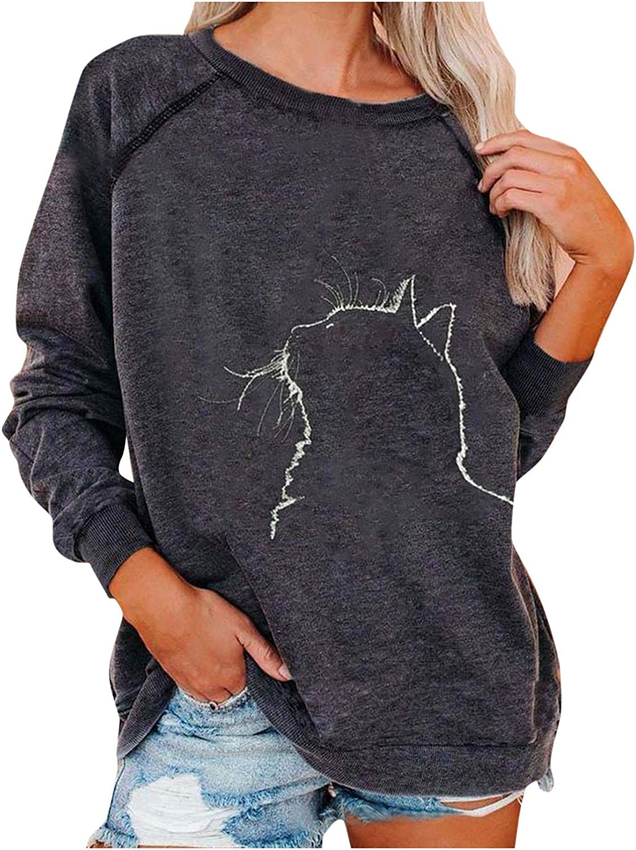 Forwelly Oversize Sweatshirt for Women Girl Novelty Cat Graphic Print Long Sleeves O Neck T Shirt Blouses Basic Tops