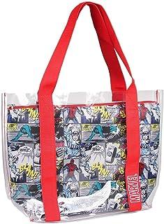 Cerdá Asas, Bolsa de Playa Transparente con Compartamento Interior Impreso de Marvel Comic Unisex niños, Rojo, 33 cm