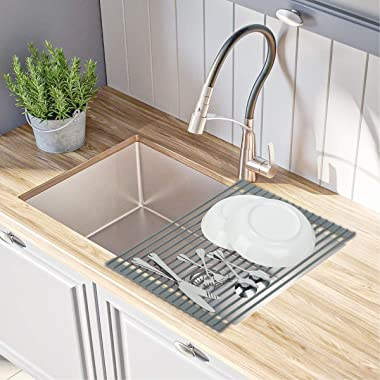 Hhyn Over the Sink Roll-Up Dish Drying Rack, Silicone Coated Stainless Steel Multipurpose Dish Drainer Mat for Kitchen Fruits