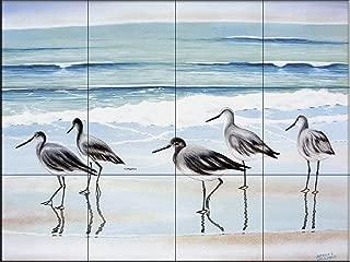 Ceramic Tile Mural - 5 Birds- by Patrick Sullivan - Kitchen backsplash/Bathroom Shower