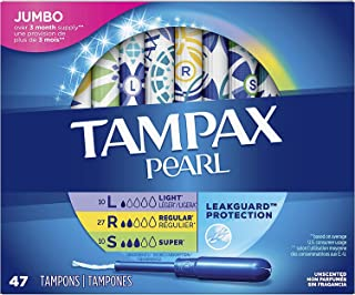 Tampax Pearl Plastic Tampons, Multipack, Light/Regular/Super Absorbency, Unscented, 47 Count