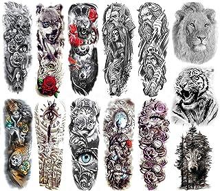 falllea 13 Hojas de Full Brazo Tatuajes Temporales Falso Tatuaje Temporal Pegatinas Negro Engomadas del Tatuaje del Brazo ...