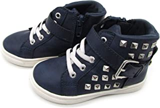 Nicole Miller New York Toddler Girls High-Top Ankle Designer PU Studded Sneakers