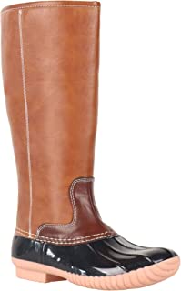 Women Cold Weather Leather Tall Duck Boots Plaid Lining Mid-Calf Rain Shoes Can Be Monogrammed
