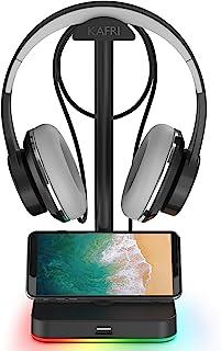 Soporte para audífonos RGB con concentrador USB KAFRI, soporte para auriculares de escritorio con 1 cable extensor USB 2.0, apto para escritorios gamer, accesorios de audífonos.