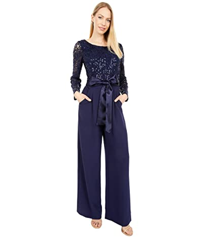 Tahari by ASL Stretch Sequin Lace Bodice with Stretch Crepe Jumpsuit (Midnight Navy) Women