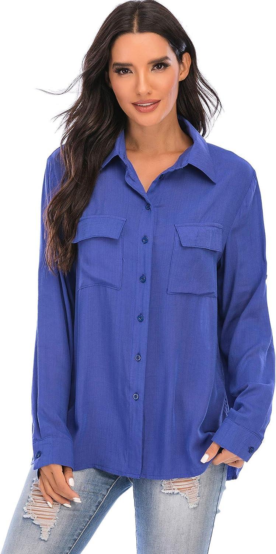 SHURONG Womens Cotton Slub Twill Long Roll Up Sleeve Button Down Shirt Button Front Tunic