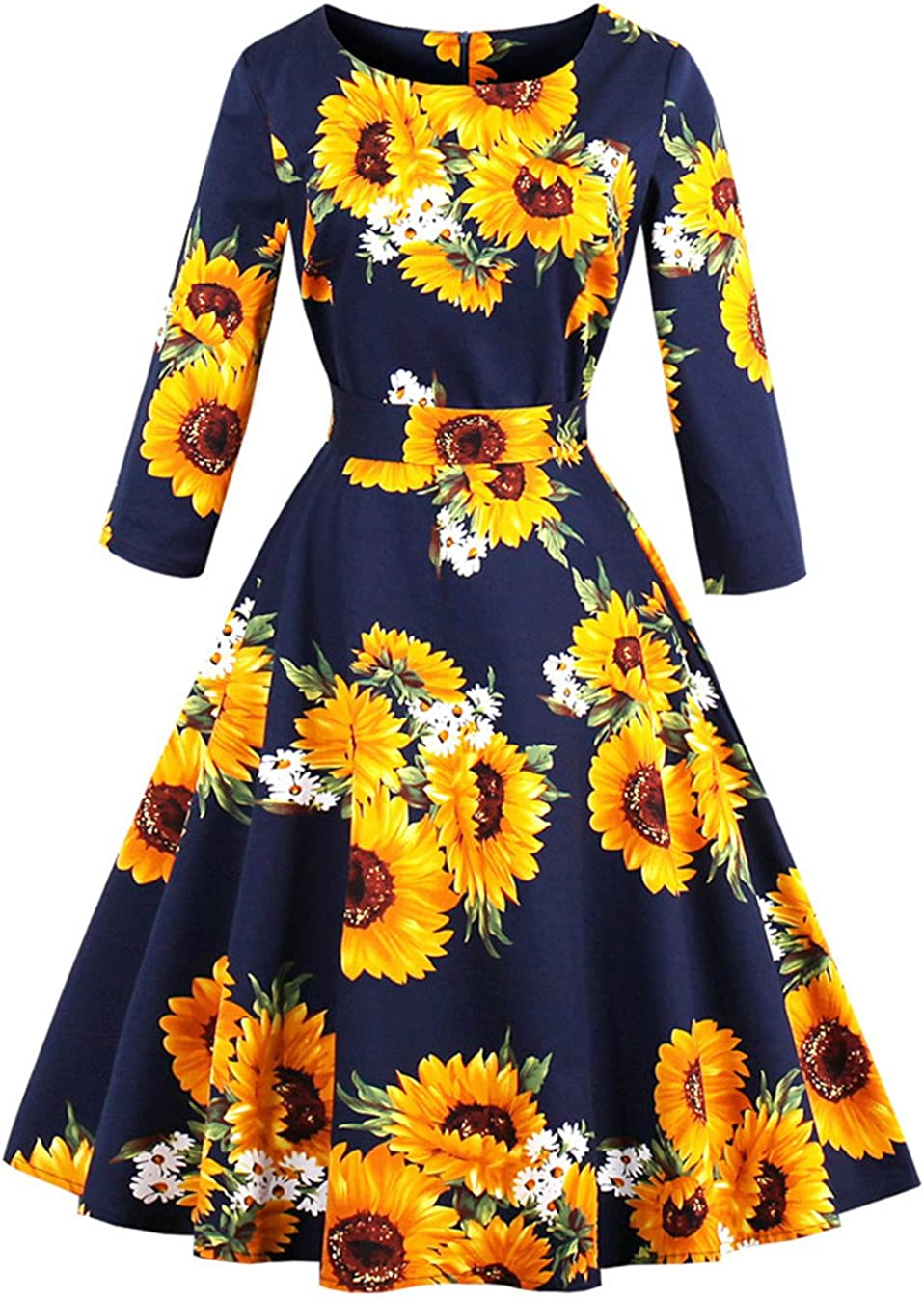 Wellwits Don't miss the campaign Women's 3 4 Sleeve Waist Vintage Sunflower Ranking TOP7 Sw Tie Print
