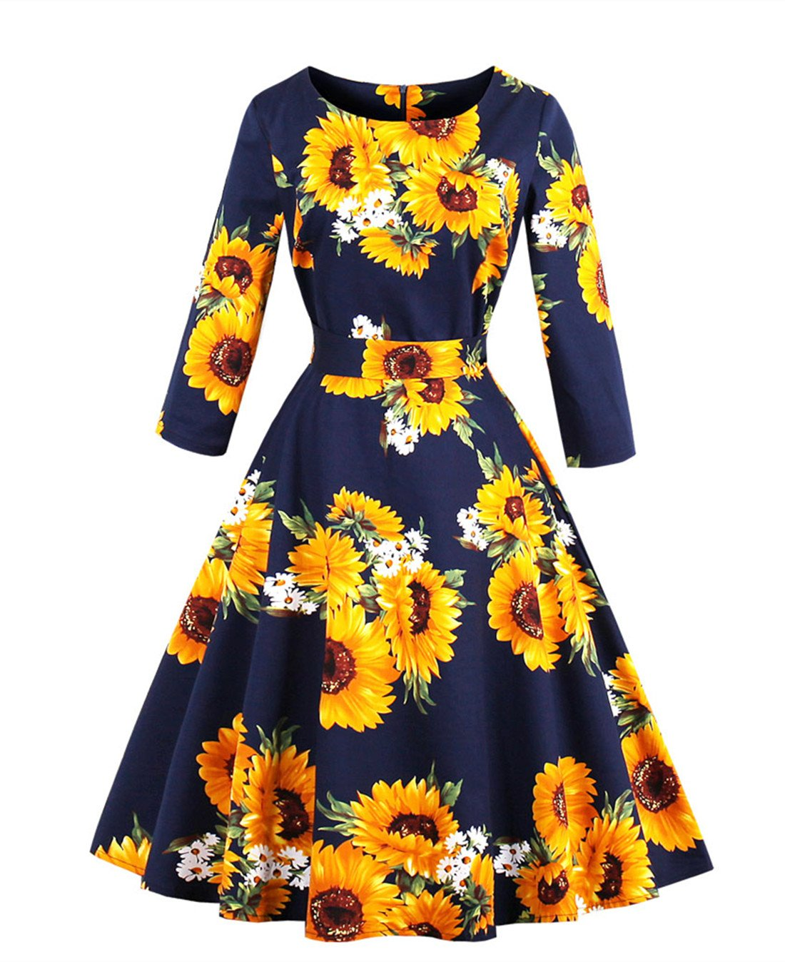 Available at Amazon: Wellwits Women's 3 4 Sleeve Waist Tie Sunflower Print Vintage Swing Tea Dress