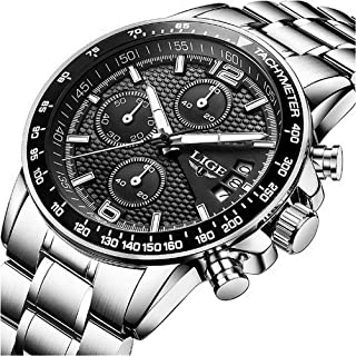 LIGE Watches Mens Waterproof Analog Quartz Wrist Watch Men Luxury Stainless Steel Sport Black Business Dress Watch