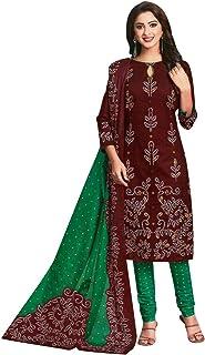 فستان سلوار للنساء من لاين تقليدي مطبوع من القطن الخالص فستان هندي جاهز للارتداء