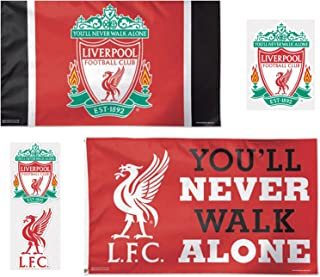 WinCraft Liverpool FC 5 Item Combo Pack 2 Deluxe Flags 3x5 Foot and 3 Outdoor Decals