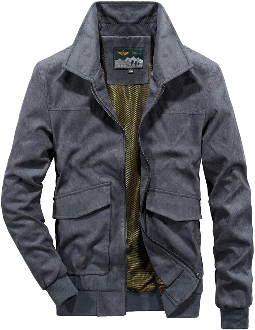 ebossy Men's Casual Zip Up Full Lined Faux Suede Leather Bomber Jacket