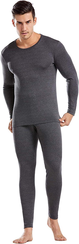 EverNight Men's Thermal Underwear,Crew Neck Base Layer Undershirt,Long Sleeve Top & Long Bottoms Set,2,XXL