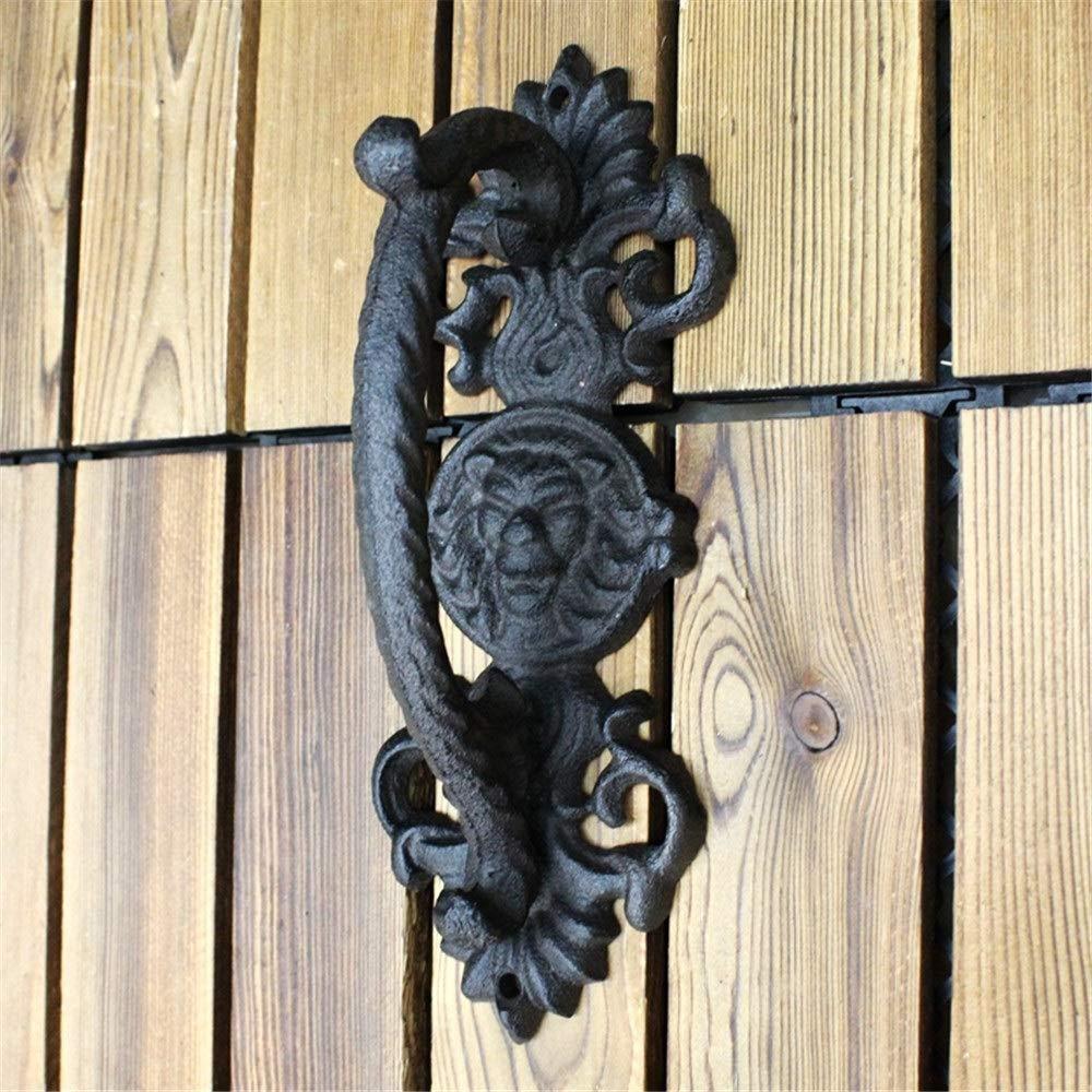 Tirador de puerta de metal Una barra de agarre para barandas de la puerta del establo corredera de hierro fundido sólido, negro, sólido, vintage, resistente - Diseño rústico industrial Adecuado para t:
