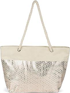 styleBREAKER Damen XXL Große Strandtasche mit Metallic Infinity Muster und Reißverschluss, Schultertasche, Shopper 02012347