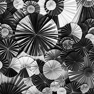 ArtzFolio Abstract Black & White Paper Flower Art Canvas Painting | MDF Wood Mounting Frame 28inch x 28inch (71.1cms x 71....