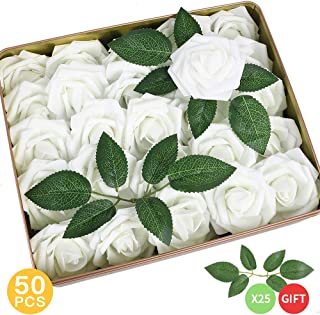 AmyHomie Pack of 50 Real Looking Artificial Roses w/Stem for DIY Wedding Bouquets Centerpieces Arrangements Party Baby Shower Home Decorations (White)