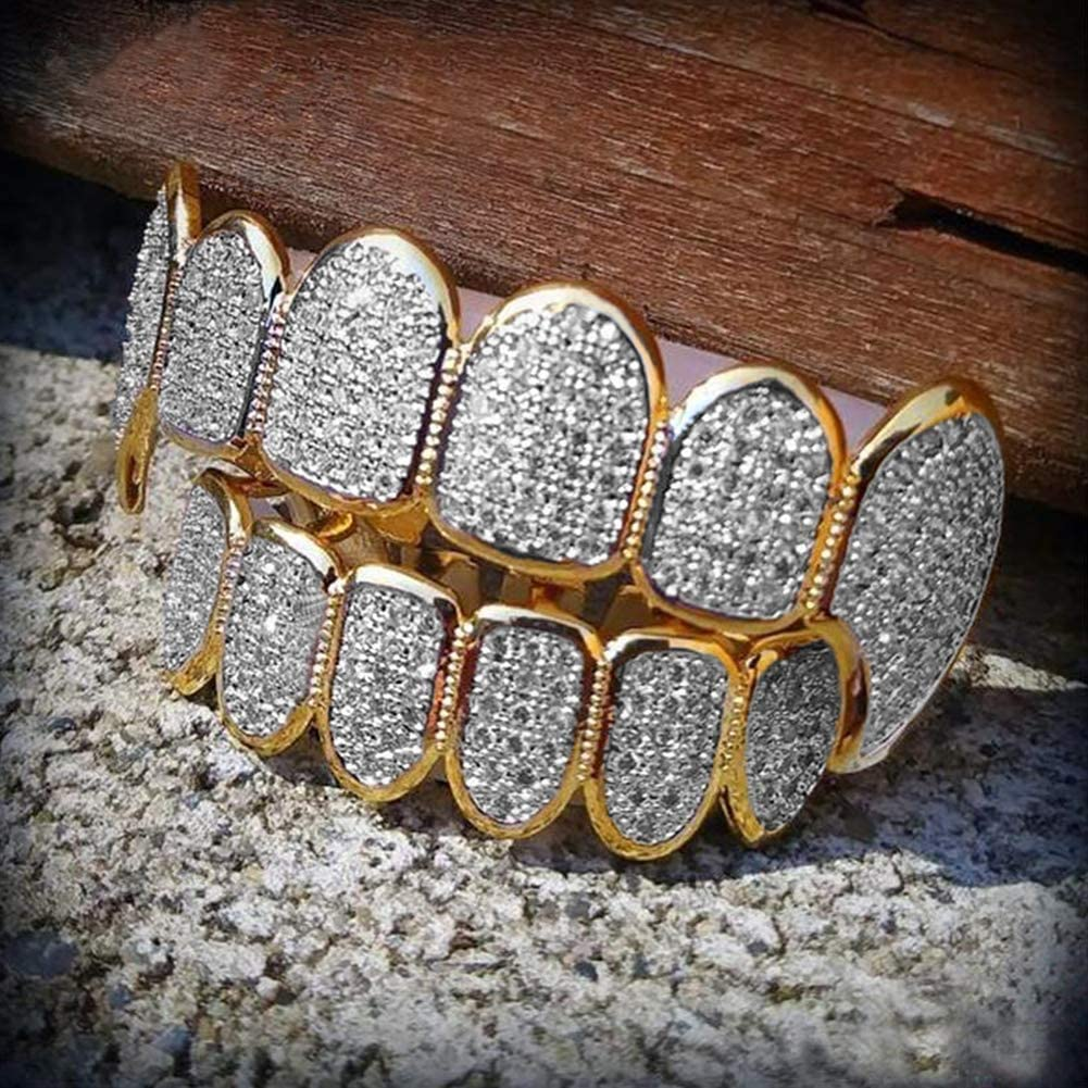 Charlotte Mall XIAOWANG Removable Teeth 18k Gold trend rank Iced Plated Bling Out G