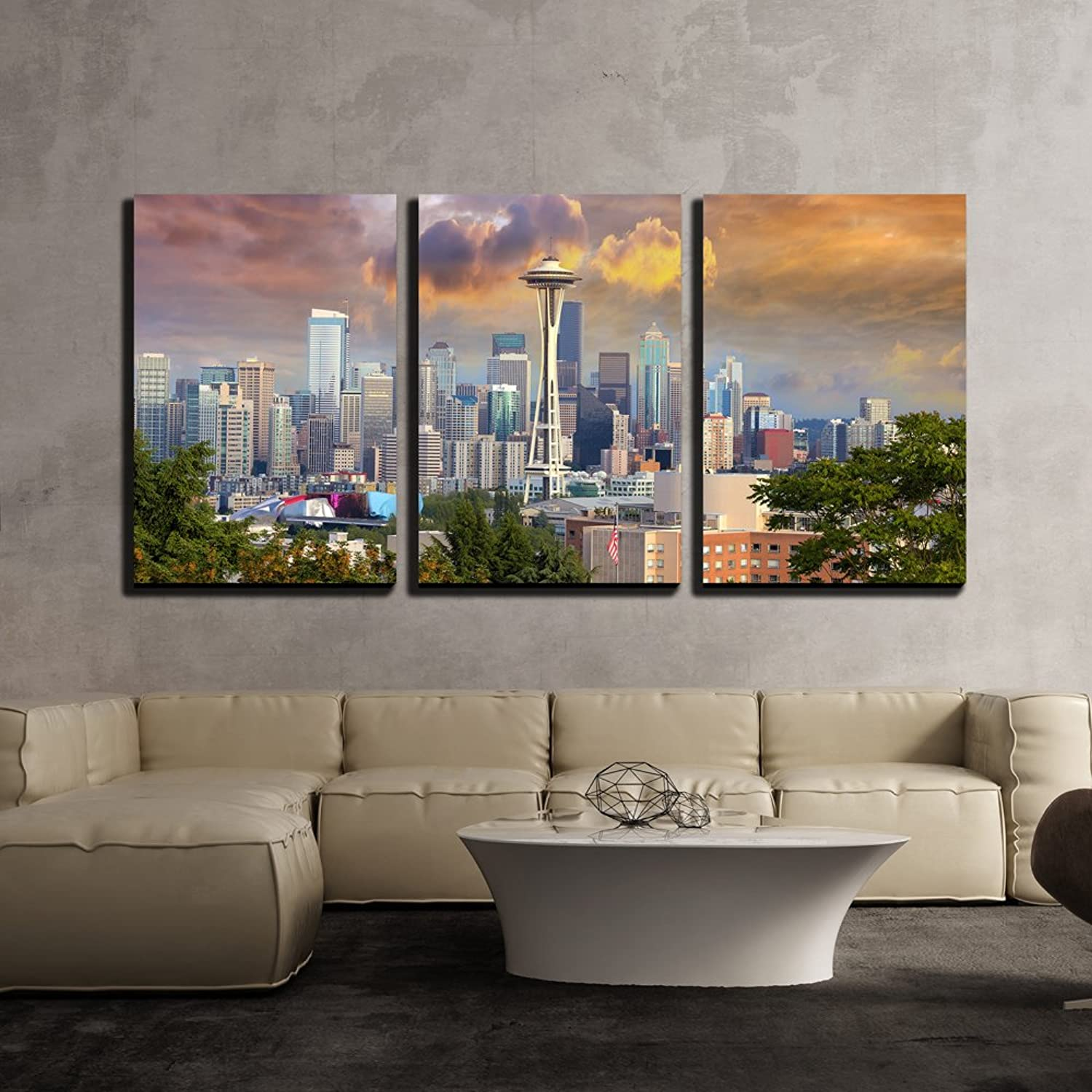 Wall26 - 3 Piece Canvas Wall Art - Seattle Washington Cityscape Skyline with Stormy Sky - Modern Home Decor Stretched and Framed Ready to Hang - 16 x24 x3 Panels