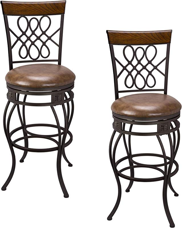 Kira Home Monarch I 30 Swivel Bar Stool Brown Leatherette Seat Cushion Scroll Backrest With Real Wood Accent Old Steel Finish Set Of 2