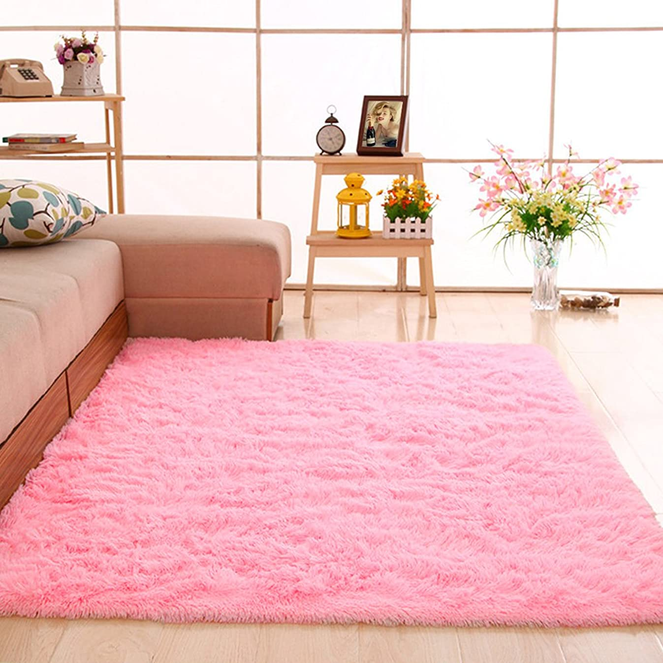 gdmgdr Ultra Soft and Fluffy Nursery Rugs 4cm High Pile Area Rugs for Bedroom and Living Room 4' x 5.3', Pink