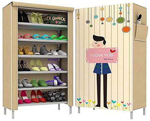 Keekos Digital Printed Multipurpose Shoe Rack Organiser Cabinet Tower with Fabric Waterproof Dustproof Cover for Home 6 Layers Beige