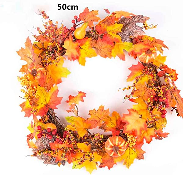Sannysis Thanksgiving Day Large Wreath With Berry Maple Leaf Fall For Door Wall Ornament Garland Decoration 19 69inch C