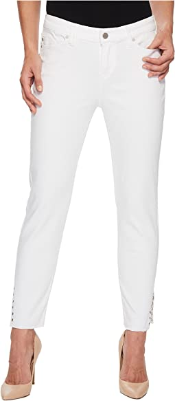 Liverpool Maya Crop with Side Ankle Rivets in Comfort Stretch Denim in Bright White