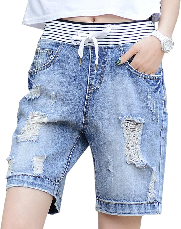 Chouyatou Women's Classic FivePocket Ripped Midi Denim Shorts Destruction