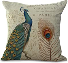 ChezMax Cotton Linen Cushion Cover Left Peacock Pattern Square Decor Pillow Cover Decorative Throw Pillow Case 18 X 18