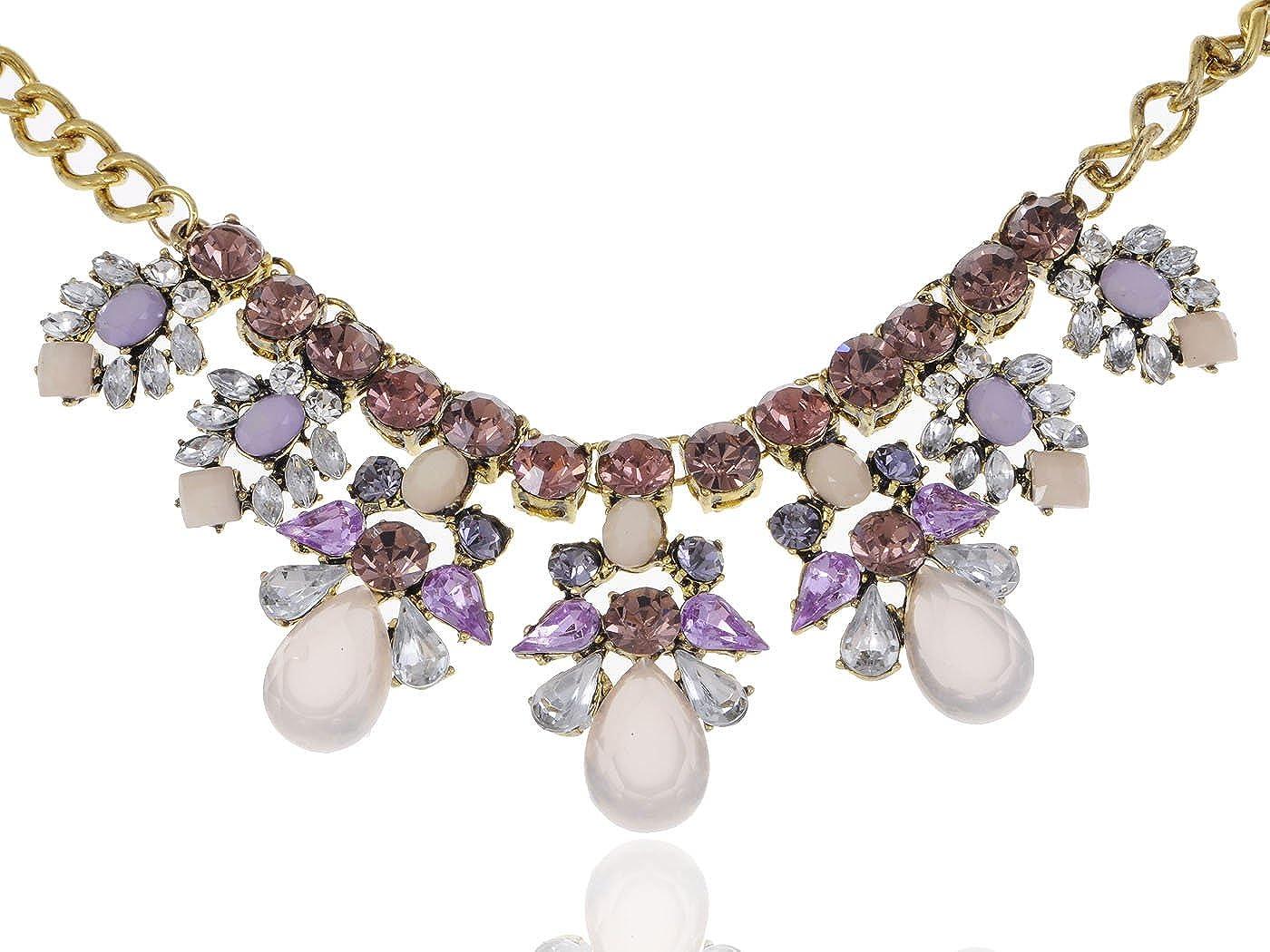 Alilang Purple Bead Necklace Elegant Synthetic Amethyst Rhinestone Collar Pendant
