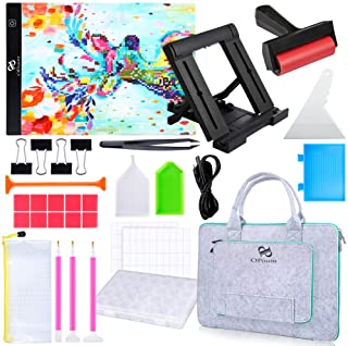 PP OPOUNT Full Range of 5D Diamond Painting Set with A4 LED Light Pad, Polyester Felt Hand Held Case Bag, Roller, Stand Ho...